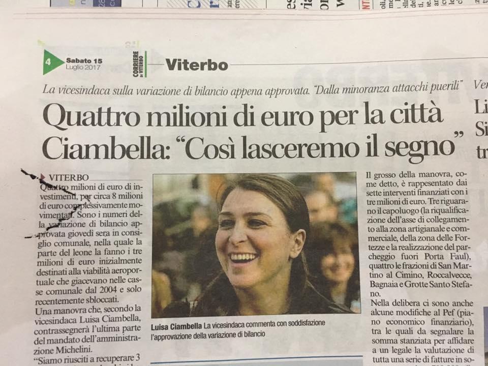 """Sotto il narcisismo niente: la Ciambella si guarda allo specchio e  loda lei e la sua giunta in una intervista al """"Corriere"""": ma è pura comunicazione politica surreale"""