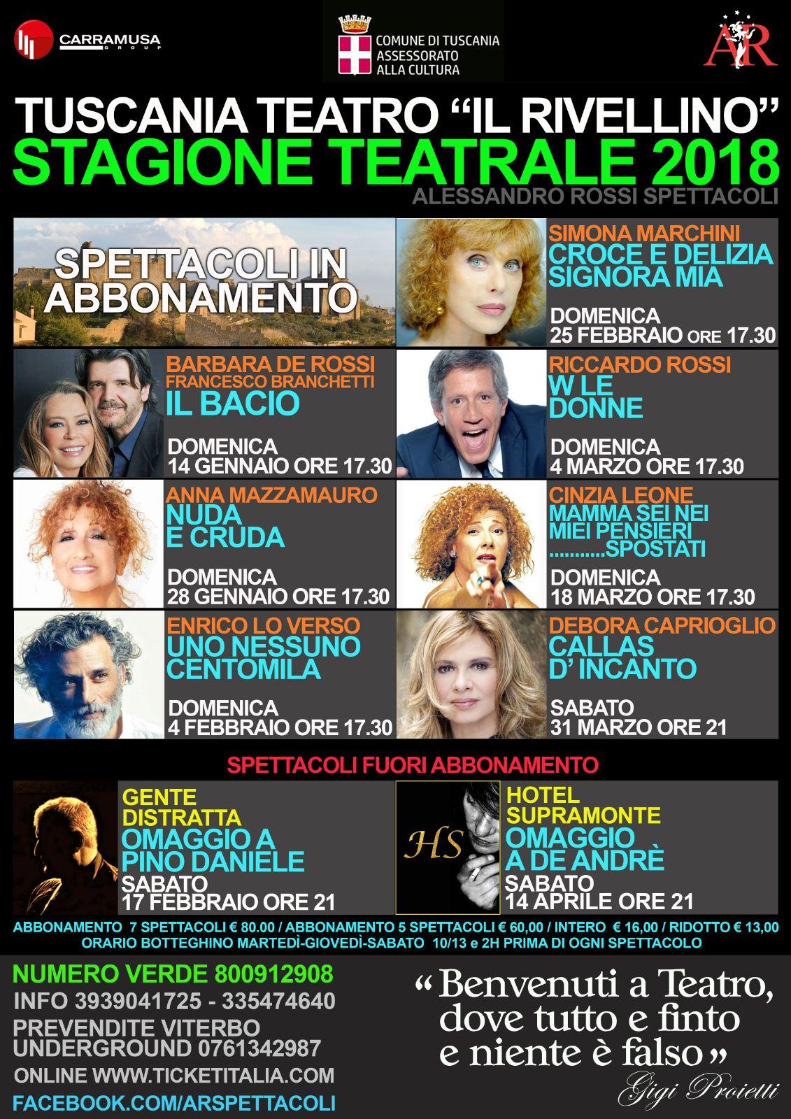 Teatro: partenza sprint del Rivellino con Barbara De Rossi, la stagione a Tuscania durerà fino ad aprile