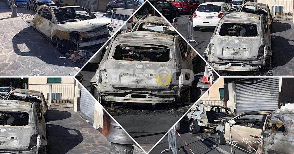 Ma a Viterbo le auto si incendiano da sole? Altre 12 andate in fiamma nel piazzale di una concessionaria al Poggino