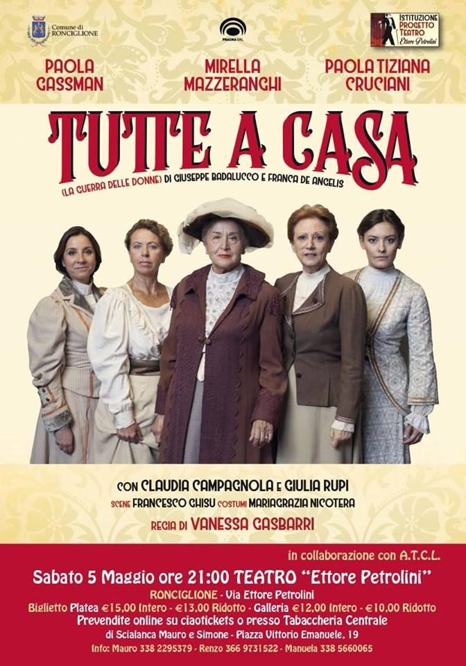 """Teatro: """"Tutte a casa"""" chiude la stagione del Petrolini di Ronciglione"""