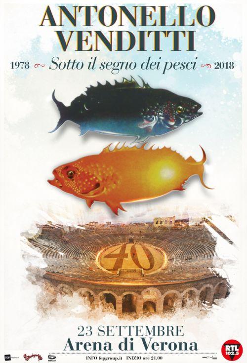 """Il 23 settembre Venditti in concerto all' Arena di Verona a 40 anni da """"Sotto il segno dei pesci"""""""