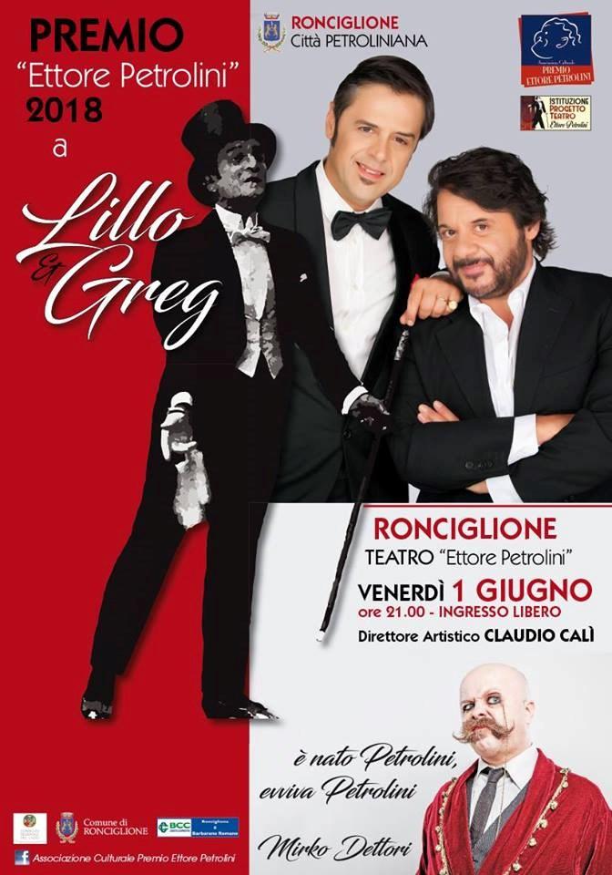 Ronciglione, Premio Petrolini 2018 a Lillo e Greg
