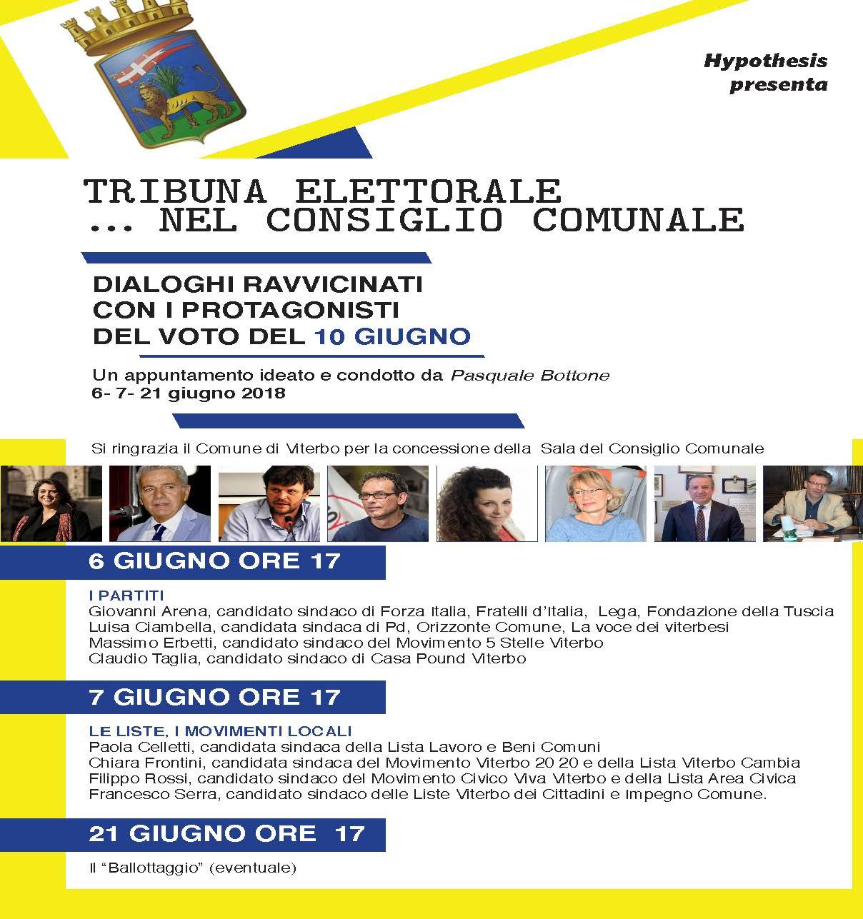 Tribuna Elettorale nel Consiglio Comunale: Pasquale Bottone intervista i candidati sindaci nella Sala del Consiglio Comunale il 6 e il 7 giugno (ore 17)