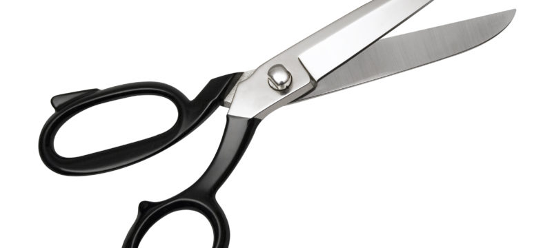scissors, (top view) w/ path