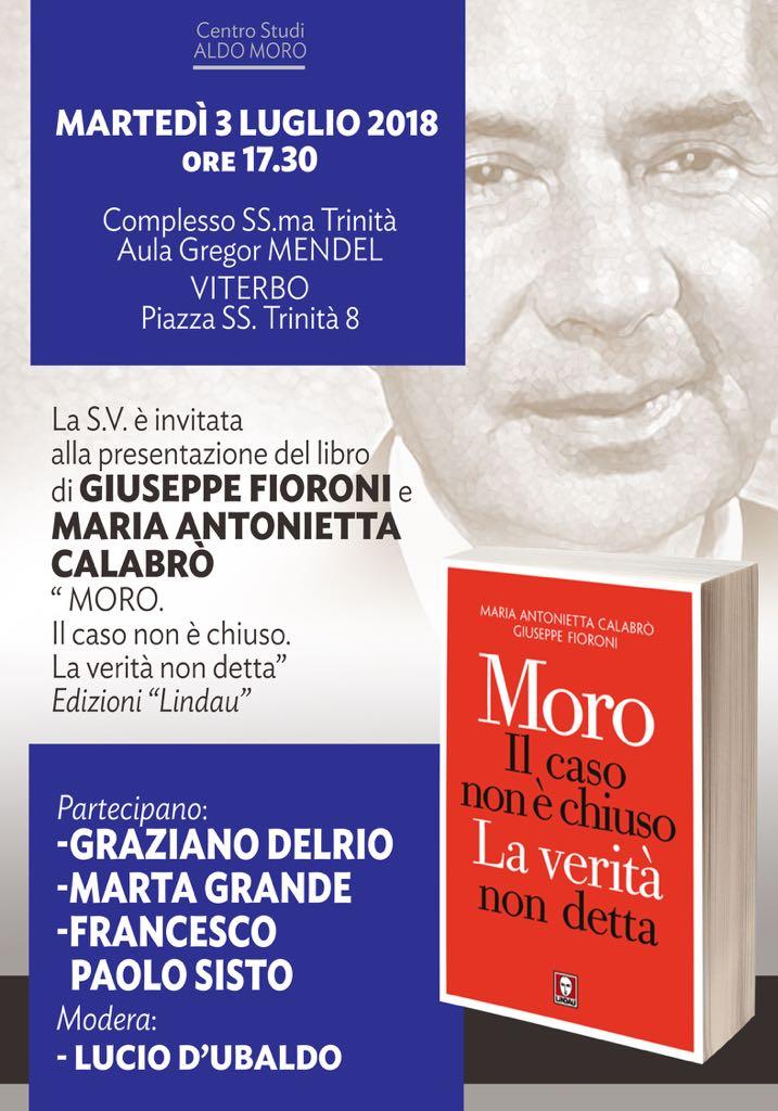 """Eventi: """"Moro, il caso non è chiuso"""", presentazione del libro a Viterbo con Graziano Del Rio"""