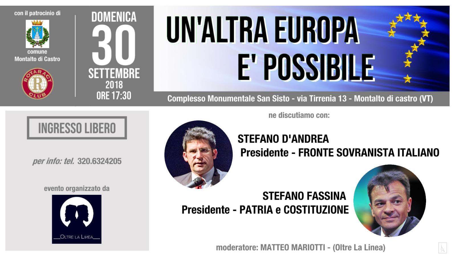 """Incontri: """"Un'altra Europa è possibile?"""", dibattito domenica 30 a Montalto"""