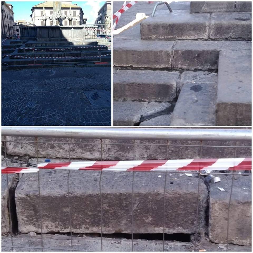 Viterbo, incidente in storica piazza: auto finisce contro Fontana Grande, nessun ferito, ma ingenti danni al monumento