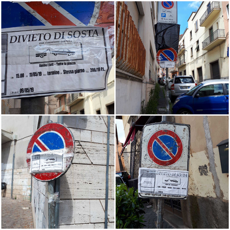 """Viterbo-Comune: passata la festa rimane immobile nelle settimane il segnale, forse fa parte del nuovo piano """"areniano"""" di decoro urbano  della città"""