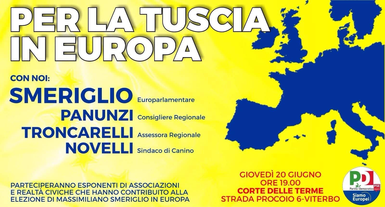 """Viterbo, incontro pubblico alla Corte delle Terme dal titolo """"Per la Tuscia in Europa"""", con l'europarlamentare Massimiliano Smeriglio"""