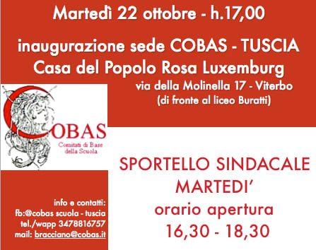Viterbo, apre uno sportello Cobas Tuscia al centro della città, martedì 22 (ore 17) l'inaugurazione