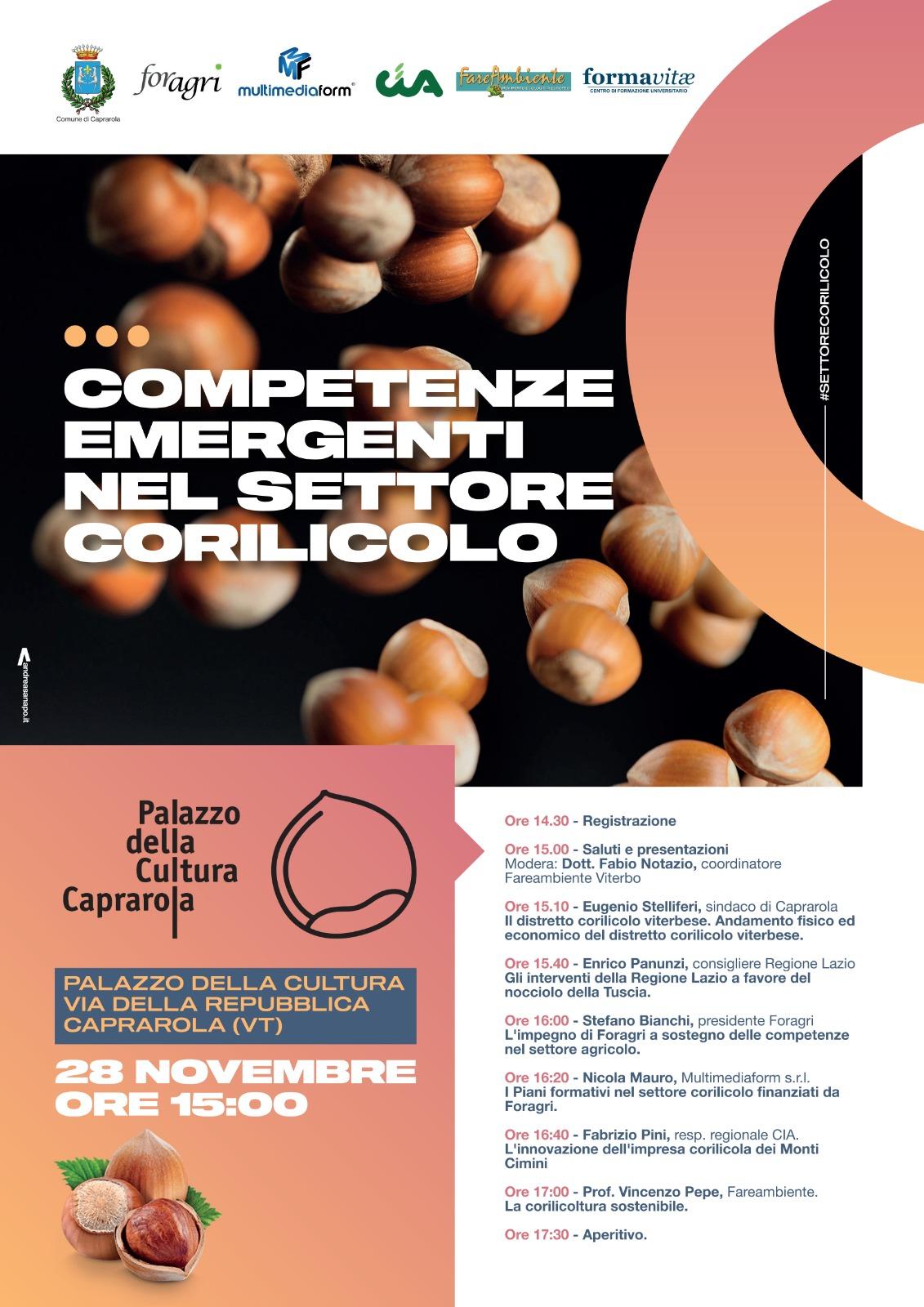 """Caprarola, """"Le competenze emergenti nel settore corilicolo"""", convegno al Palazzo della Cultura il 28 novembre"""