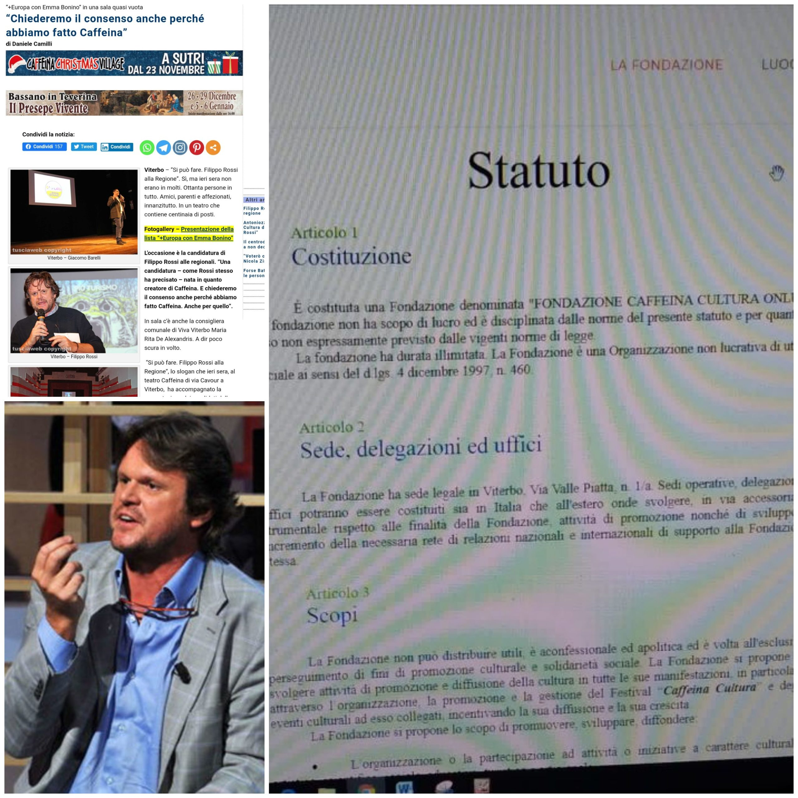 """Viterbo, politica e cultura, la nota, Filippo Rossi chiese il voto per le regionali a favore di Zingaretti in quanto """"creatore di Caffeina"""", ma la """"Fondazione"""" per statuto era nata """"apolitica e apartitica"""""""