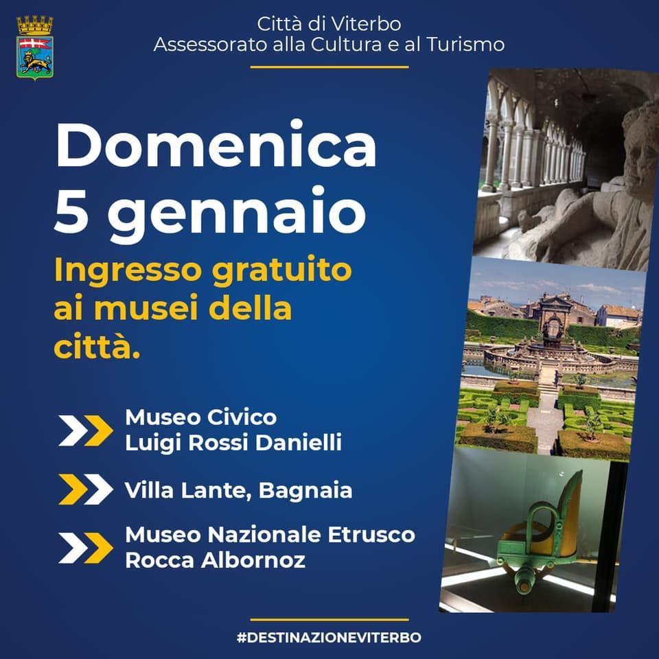 Viterbo, Arte, domenica 5 gennaio ingresso libero al Museo Civico e a Villa Lante