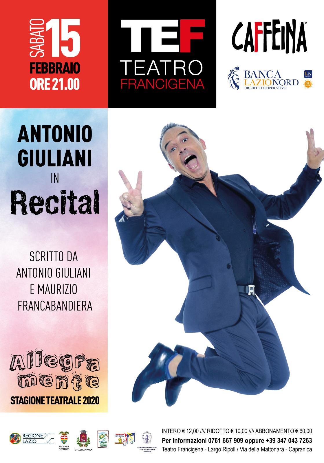 Capranica, Teatro, Antonio Giuliani al Teatro Francigena il 15 febbraio