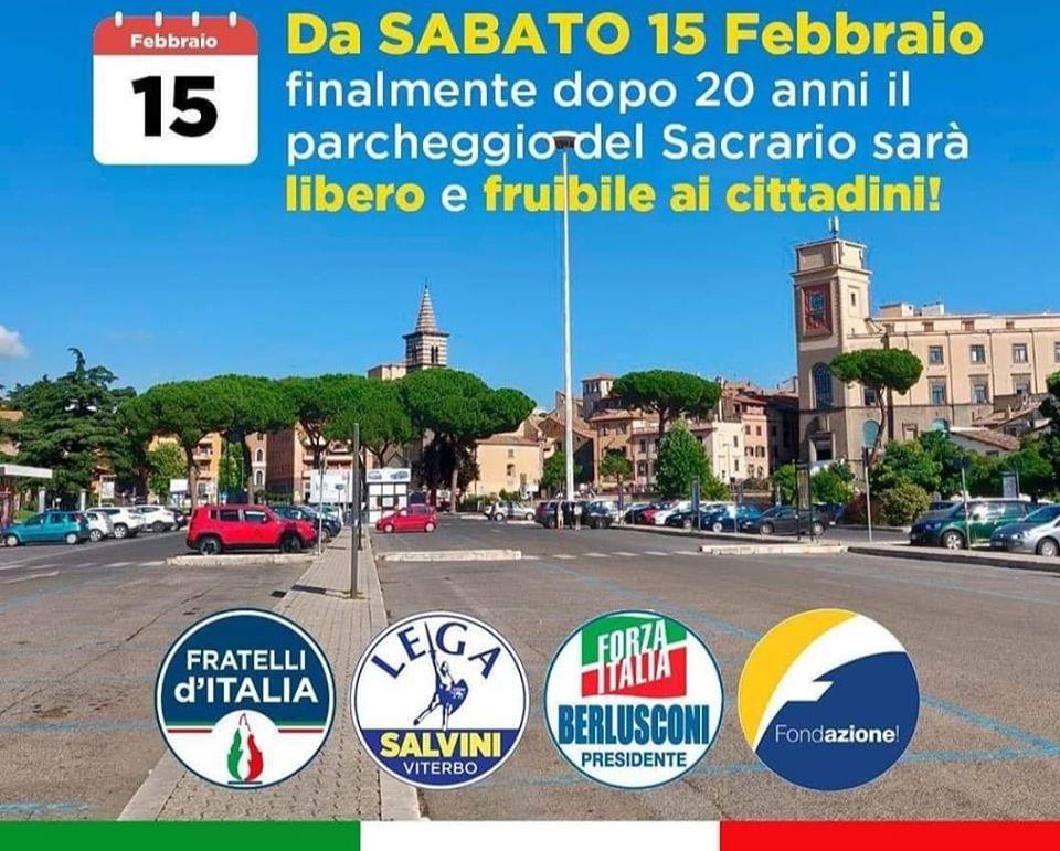 Viterbo, Comune: il cdx festeggia la liberazione del parcheggio del Sacrario, una scelta autoritaria svuota-centro storico, una inutile vittoria di Pirro