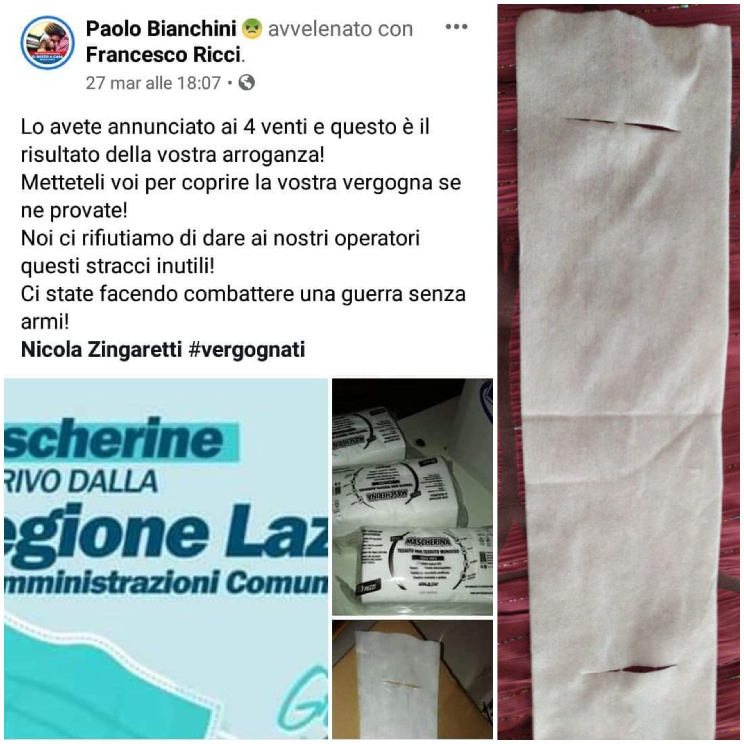 Viterbo, Coronavirus, mascherine, se la Regione Lazio sbaglia, il Comune persevera diabolicamente e Bianchini non s'indigna più, perchè?