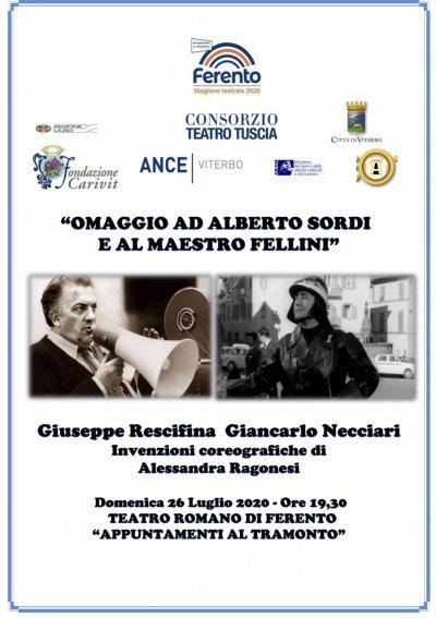 Viterbo, Cultura,  omaggio a Sordi e Fellini domenica 26 a Ferento