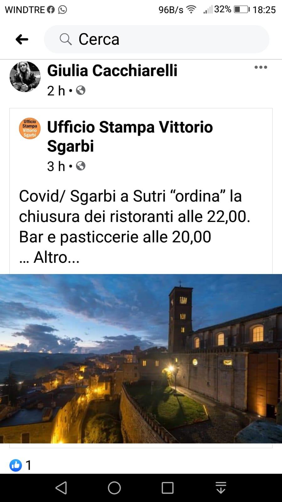Covid, a Sutri il sindaco esterna contro il Papa e promette di allentare le misure del Dcpm, confusione tra baristi e ristoratori