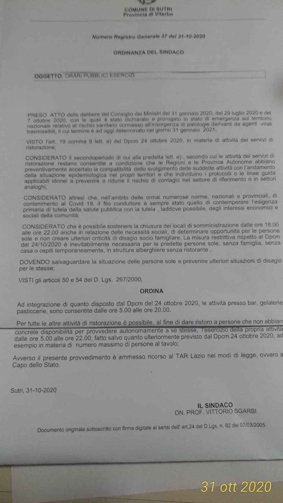 """Sutri, Ordinanza commercio, """"Sgarbi non può giocare con il lavoro e la salute dei cittadini"""", CCSS scrive alle istituzioni"""