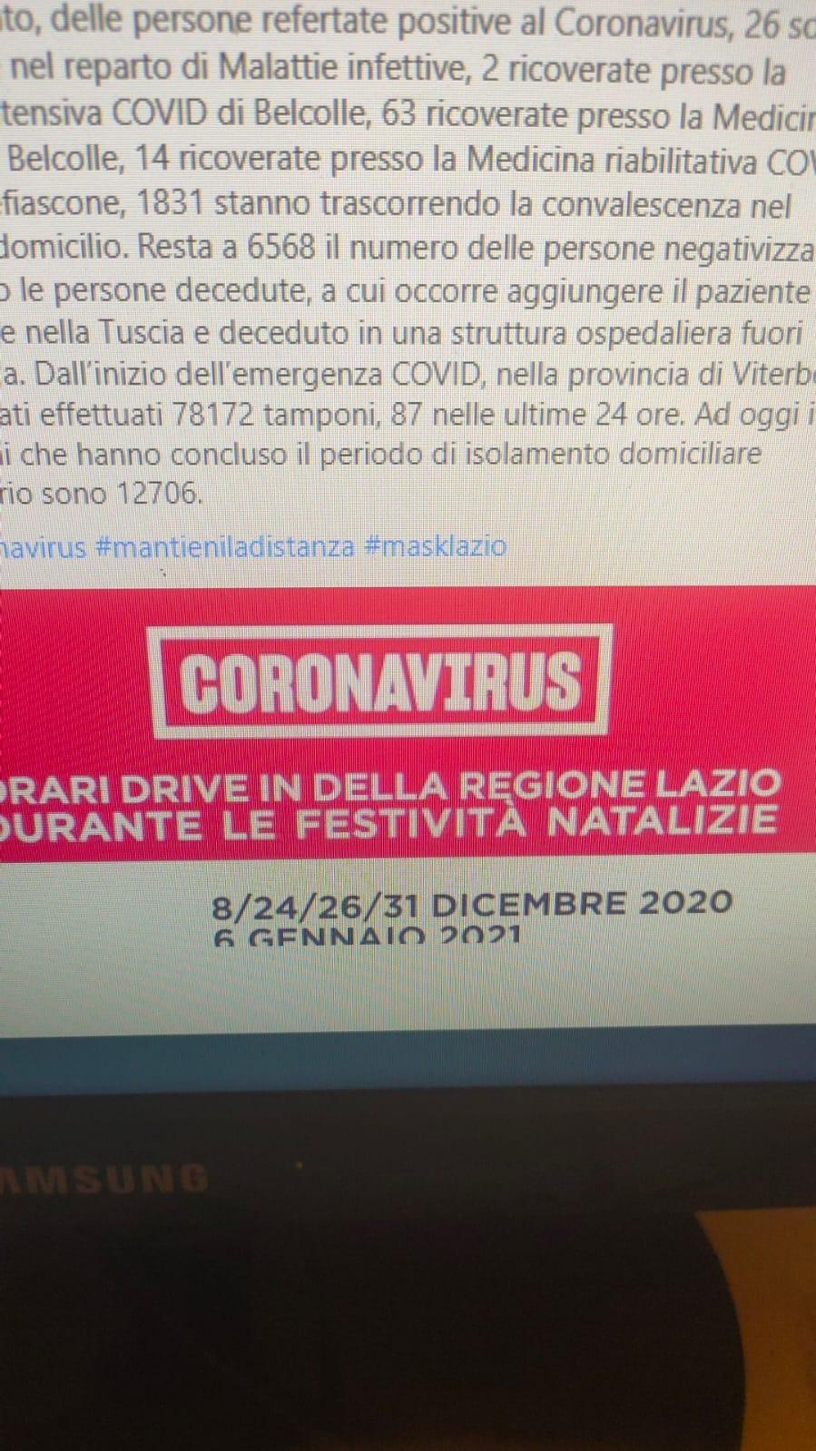 Viterbo, Covid, morto un 70enne, 73 nuovi casi positivi su 87 tamponi effettuati, dati più che preoccupanti, dove è Arena?