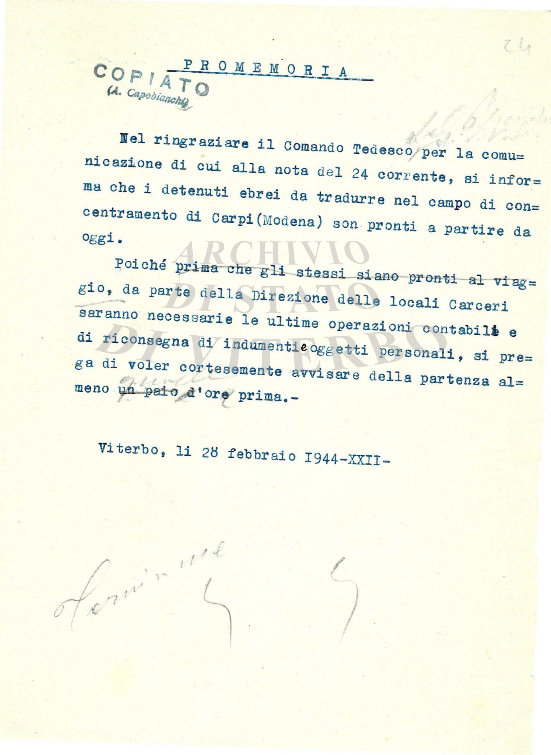 """Viterbo, 27 gennaio, Angelo Allegrini (Dir. Archivio di Stato): """"Con una mostra documentaria online partecipiamo al ricordo"""""""