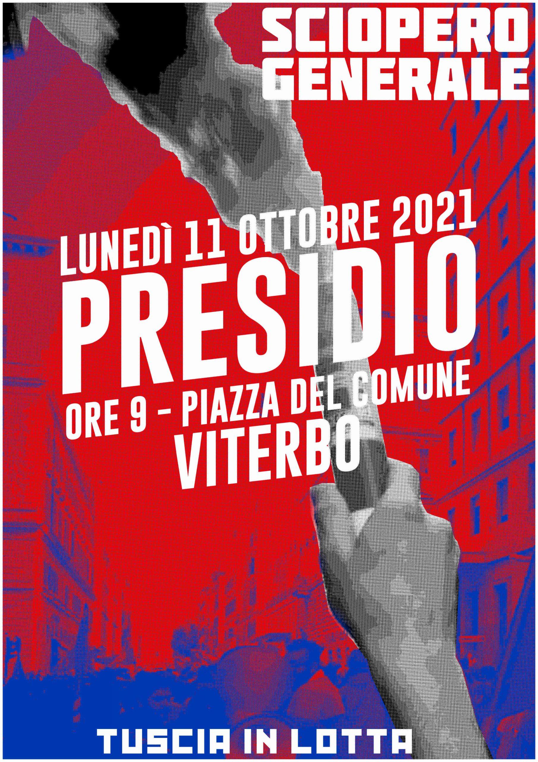 Viterbo, Sciopero Generale 11 ottobre, presidio di Tuscia in Lotta a Piazza del Plebiscito